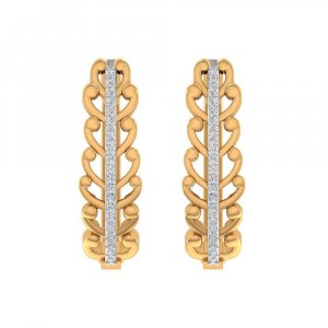 0.17 Cts Certified Diamond 14k Yellow Real Gold Huggie Earring Partywear