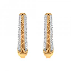 0.31 Ct Certified Diamond 14k Yellow Gold Jewelry Brand New Huggie Earring Gift