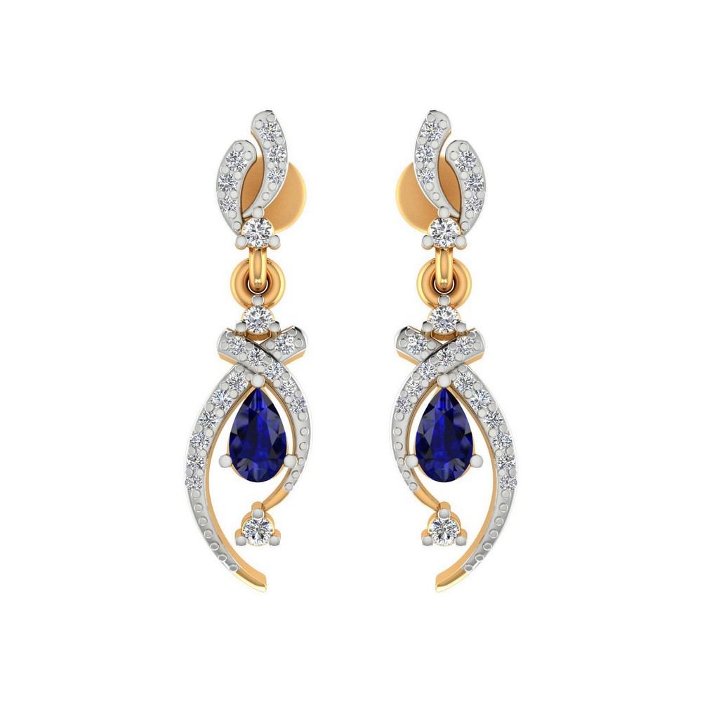 14k Yellow Gold 0.28Ct Certified Diamond Jewelry Drop Blue Sapphire Earring