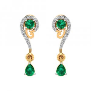 0.16 Cts Certified Diamond 14k Yellow Gold Jewelry Drop Emerald Earring Giftable
