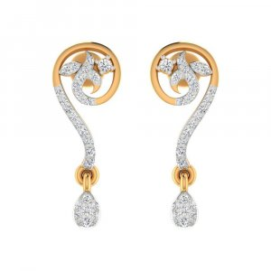 14k Yellow Real Gold Jewelry 0.27 Cts Certified Diamond Drop Dangle Earring