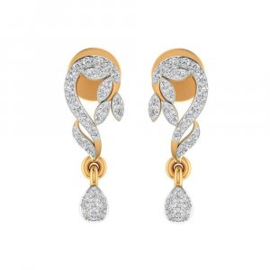 14k Yellow Solid Gold Jewelry 0.31 Cts Certified IJ/SI Diamond Drop Earring Gift