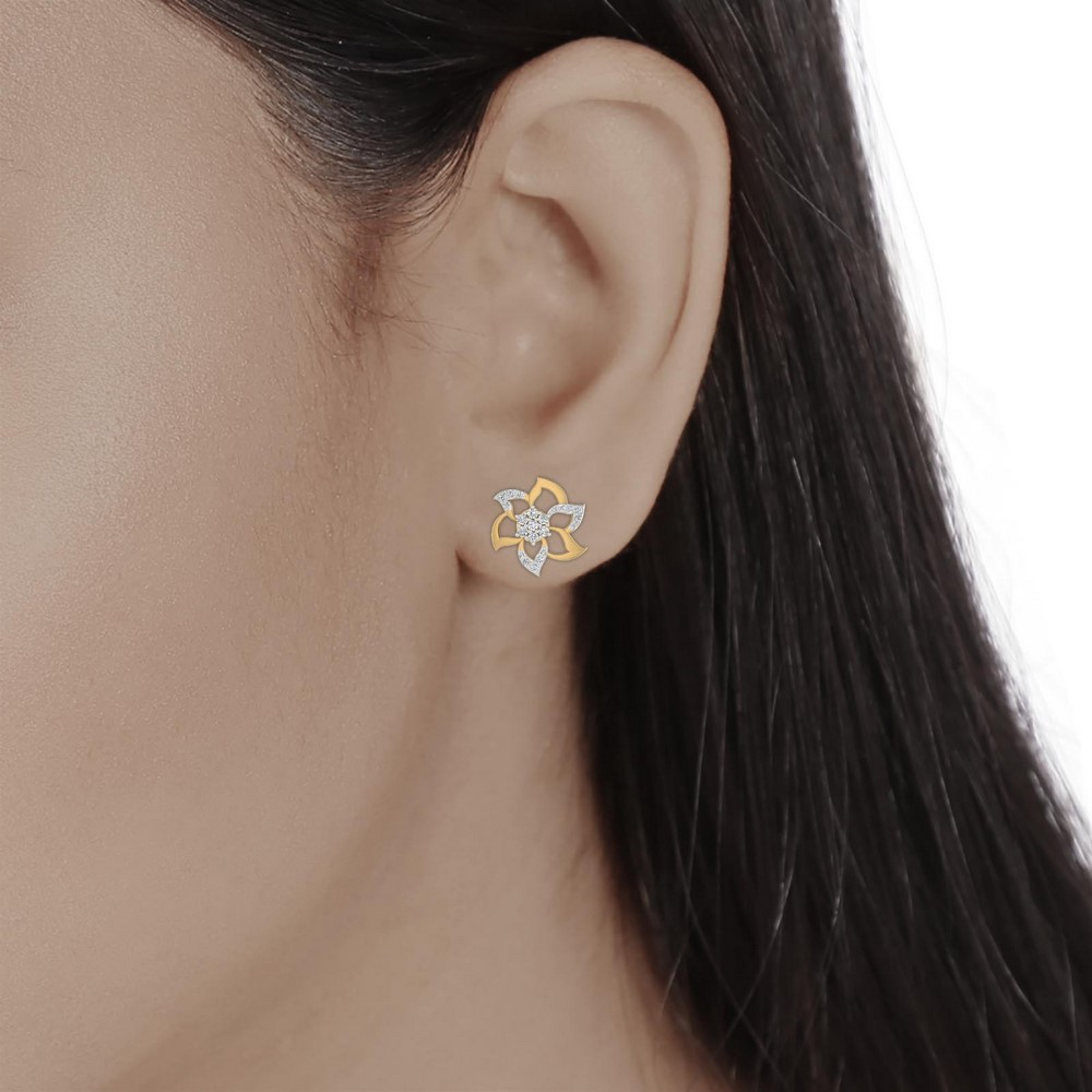 0.39Ct Certified IJ/SI Diamond 14k Yellow Solid Gold Floral Stud Earring Party