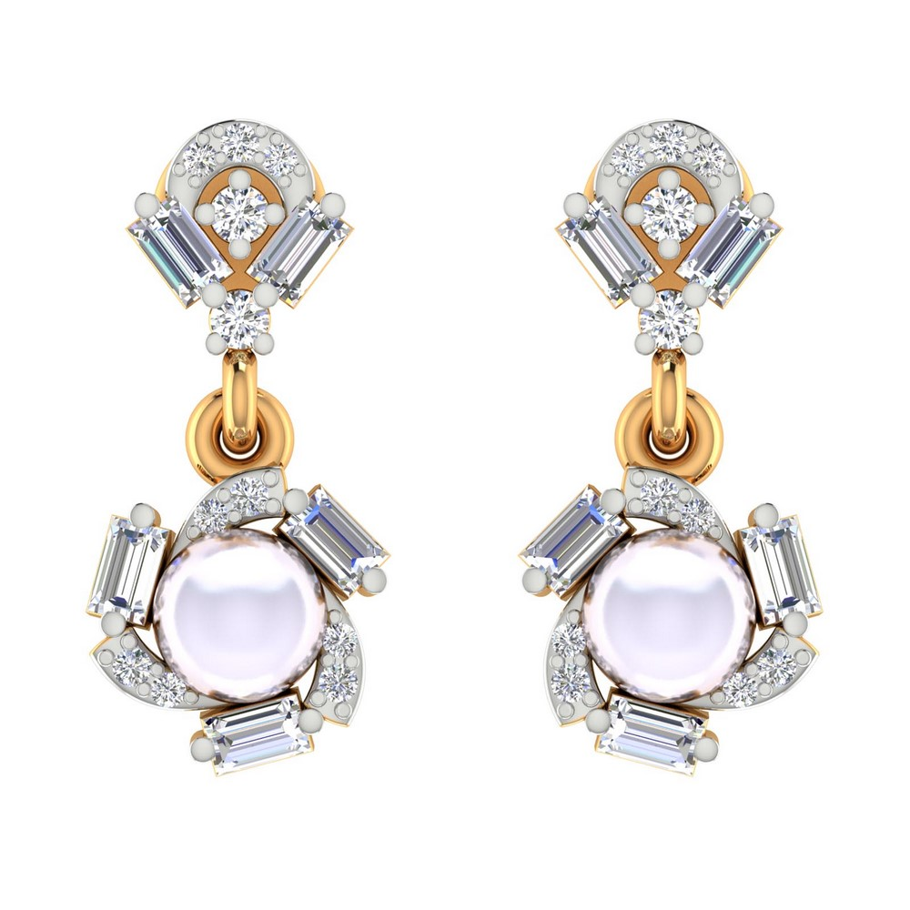 0.64Cts Certified IJ/SI Diamond 14k Yellow Solid Gold Jewelry Pearl Drop Earring