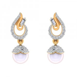 14k Yellow Gold Jewelry 0.55Ct Certified Diamond Pearl Stone Drop Earring Party