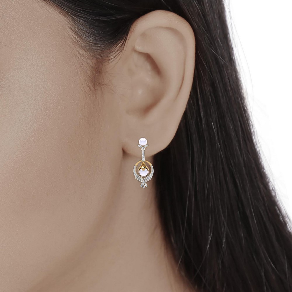 0.88 Cts Certified Diamond 14k Yellow Gold Jewelry Pearl Drop Earring Party