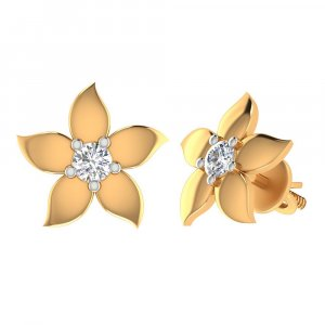14k Yellow Real Gold Jewelry 0.22Ct Certified IJ/SI Diamond Stud Earring Gift