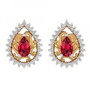 0.25 Cts Certified Diamond 14k Yellow Gold Natural Ruby Gemstone Stud Earring