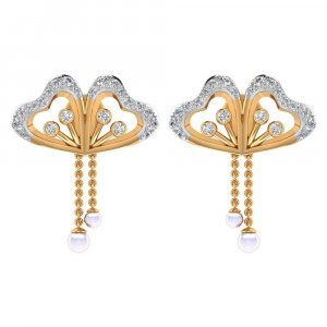 0.34 Cts Certified Diamond 14k Yellow Hallmarked Gold Natural Pearl Stud Earring
