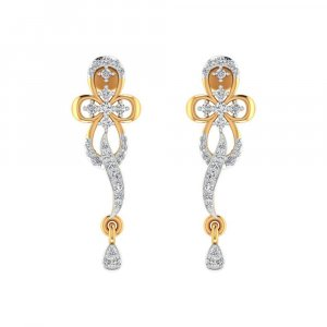 14k Yellow Gold 0.34 Cts Certified Diamond Designer Drop Dangle Earring Party