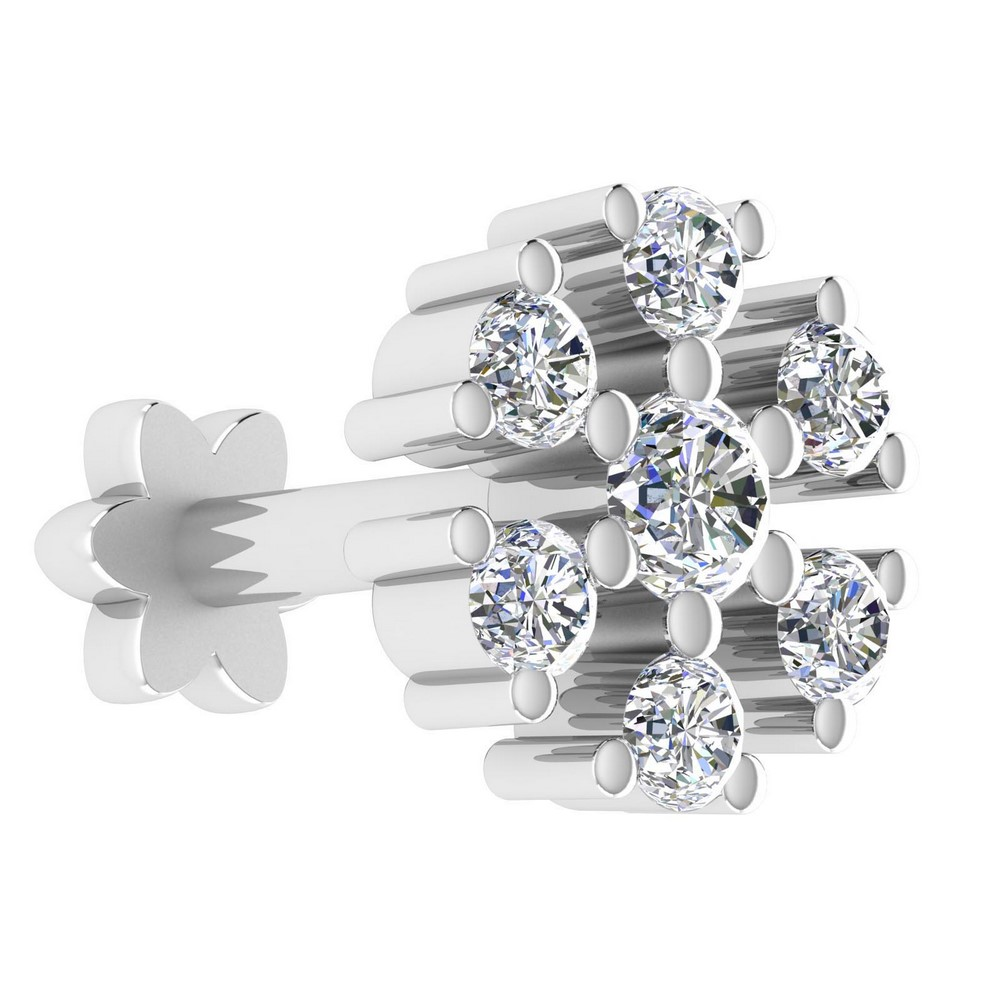 14k White Gold Jewelry 0.11 Cts Certified IJ/SI Diamond Brand New Nosepin Party