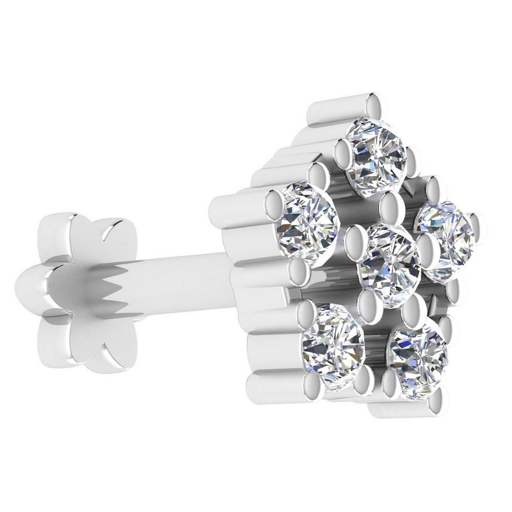 14k White Real Gold Jewelry 0.08 Cts Certified Diamond Stylish Nosepin Free Gift