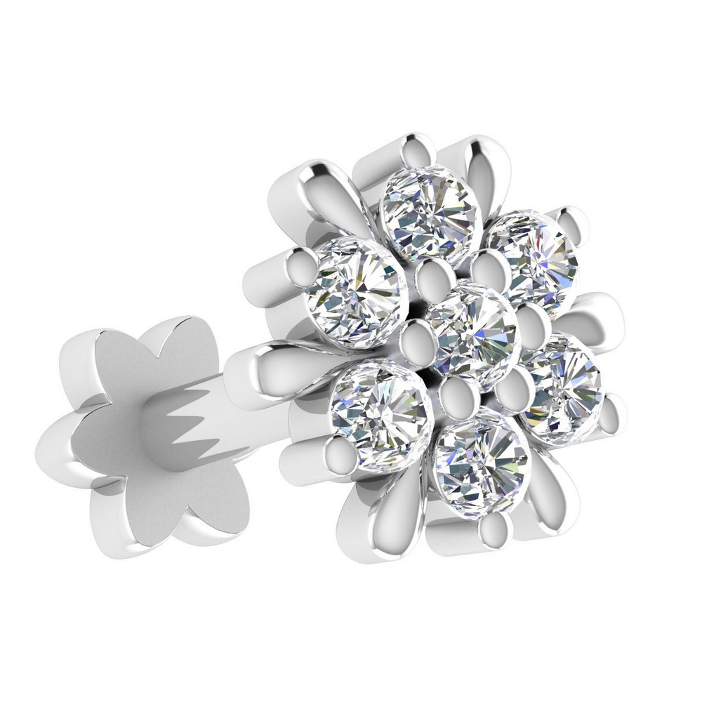 14k White Gold Jewelry 0.08 Cts Certified Real Diamond Floral Nosepin Partywear