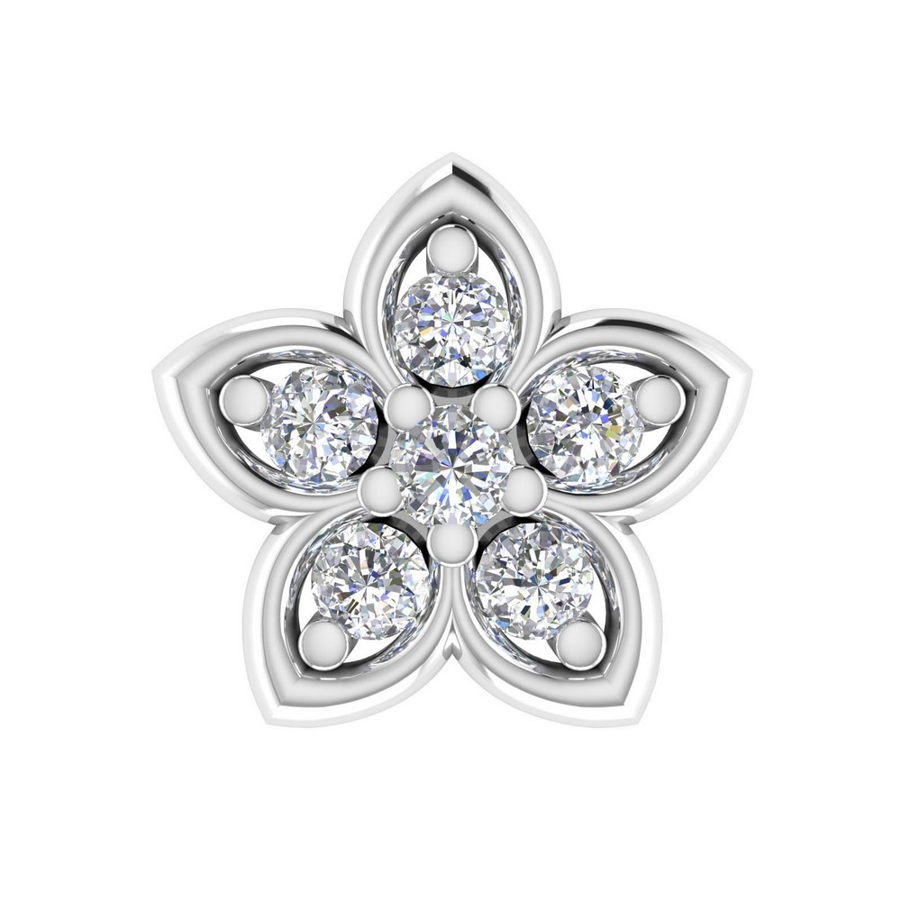 0.04 Cts Certified Diamond 14k White Gold Jewelry Fashionable Nosepin Giftable