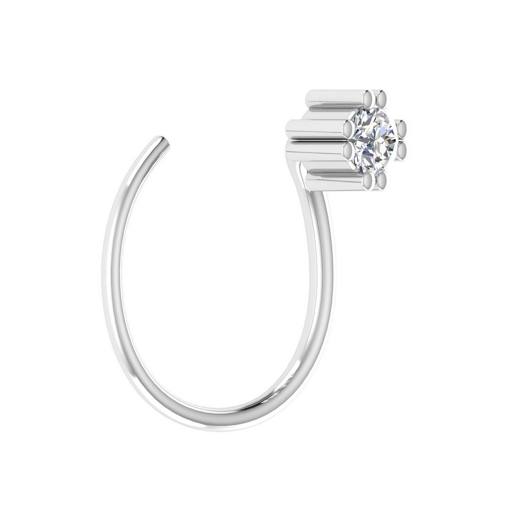 0.03 Cts Certified Diamond 14k White Solid Gold Jewelry Nose Ring Weddingwear