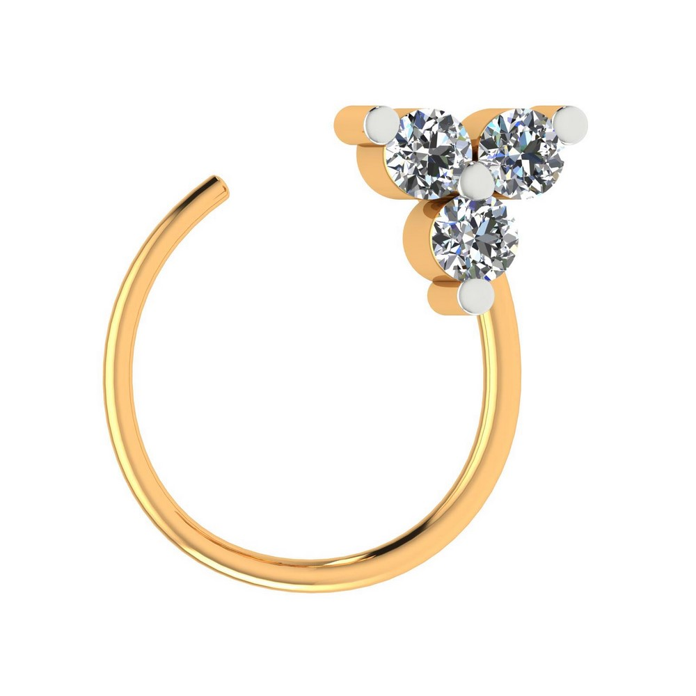 0.05 Ct Certified Diamond 14k White Gold Jewelry Stylish Three Stone Nose Ring