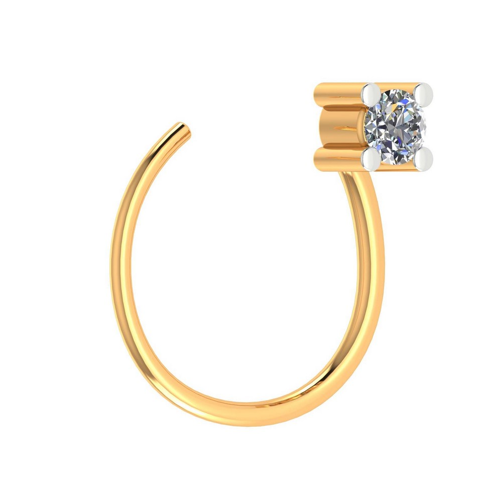 14k White Hallmarked Gold 0.03 Cts Certified Diamond Jewelry Nose Ring Free Gift