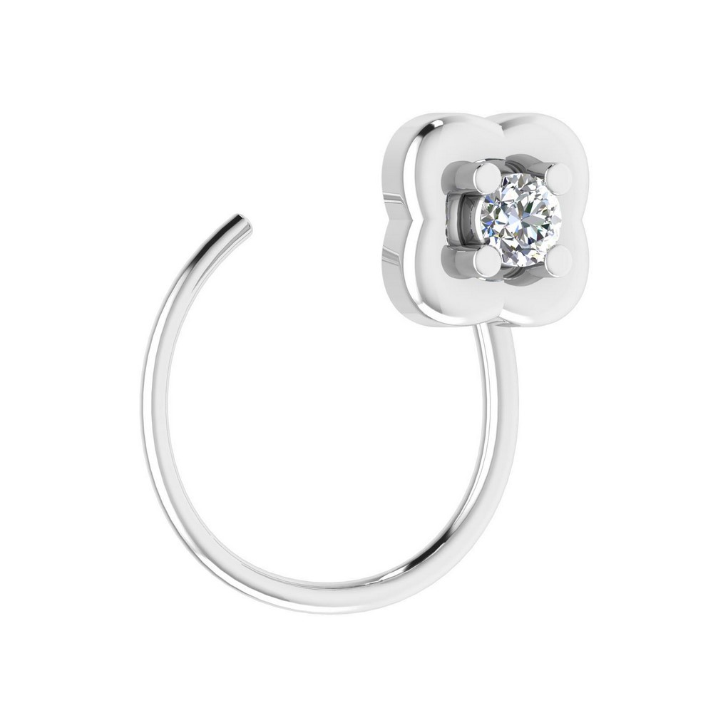 0.02 Cts Certified IJ/SI Diamond 14k White Hallmark Gold Nose Ring Birthday Gift