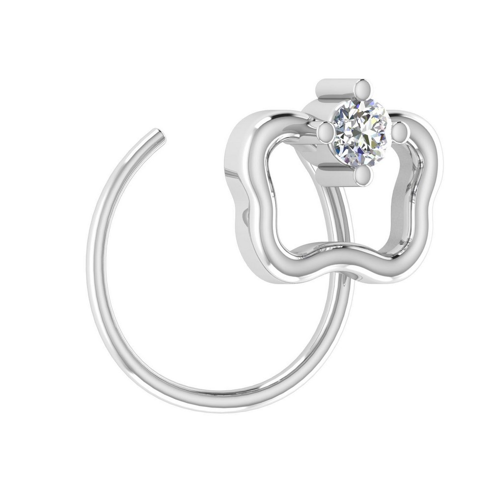 14k White Natural Gold 0.03 Cts Certified Solid Diamond Jewelry Modern Nose Ring
