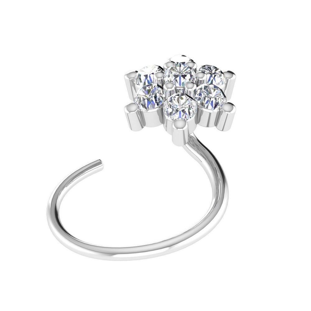 14k White Hallmark Gold Jewelry 0.09Ct Certified IJ/SI Diamond Floral Nose Ring