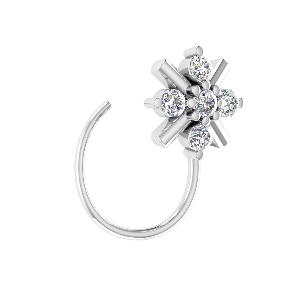 14k White Real Gold Jewelry 0.07 Cts Certified IJ/SI Diamond Nose Ring Gift able