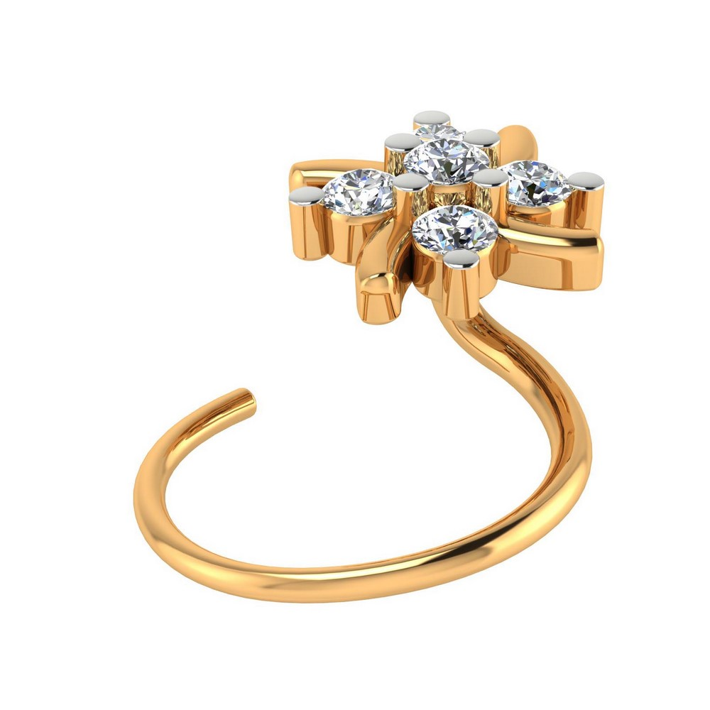 0.07 Cts Certified Natural Diamond 14k White Hallmark Gold Jewelry Nose Ring