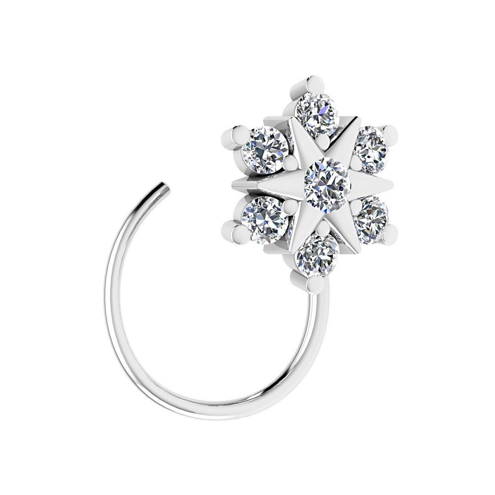 14k White Gold 0.10 Cts Certified 100% Natural Diamond Jewelry Floral Nose Ring