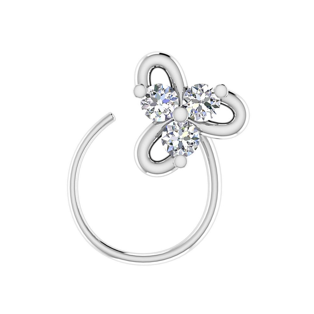 14k White Real Gold 0.07Ct Certified IJ/SI Diamond Jewelry Three Stone Nose Ring