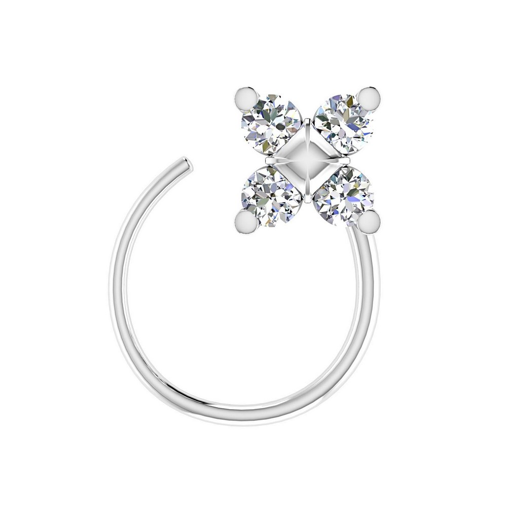 0.06 Cts Certified Diamond 14k White Gold Jewelry Floral Nose Ring Birthdaywear