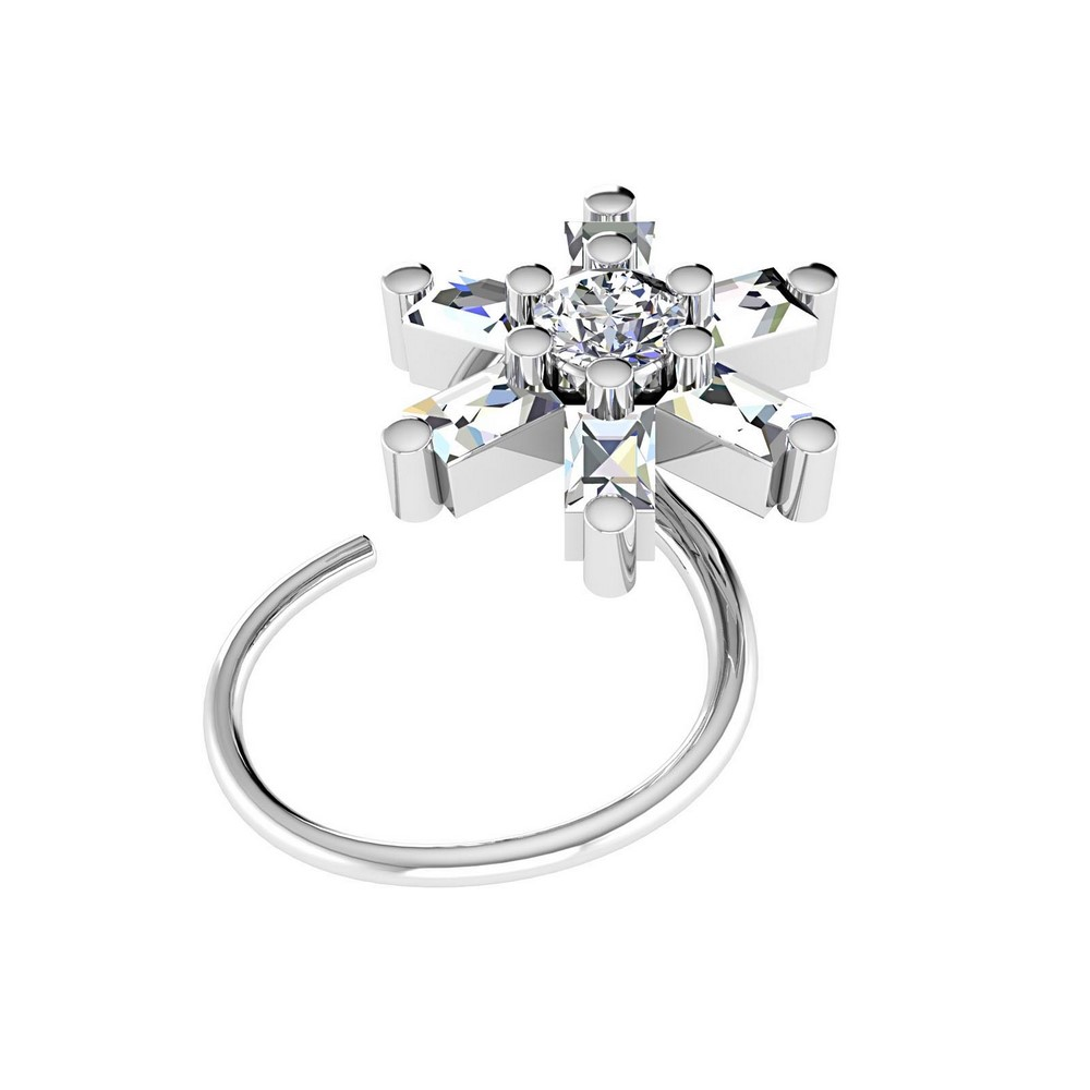 14k White Real Gold 0.222 Cts Certified IJ/SI Diamond Jewelry Beautiful Nose Ring