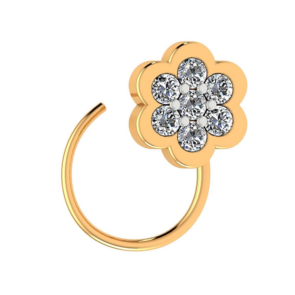 14k White Gold 0.09 Cts Certified Natural Diamond Jewelry Floral Nose Ring Gift