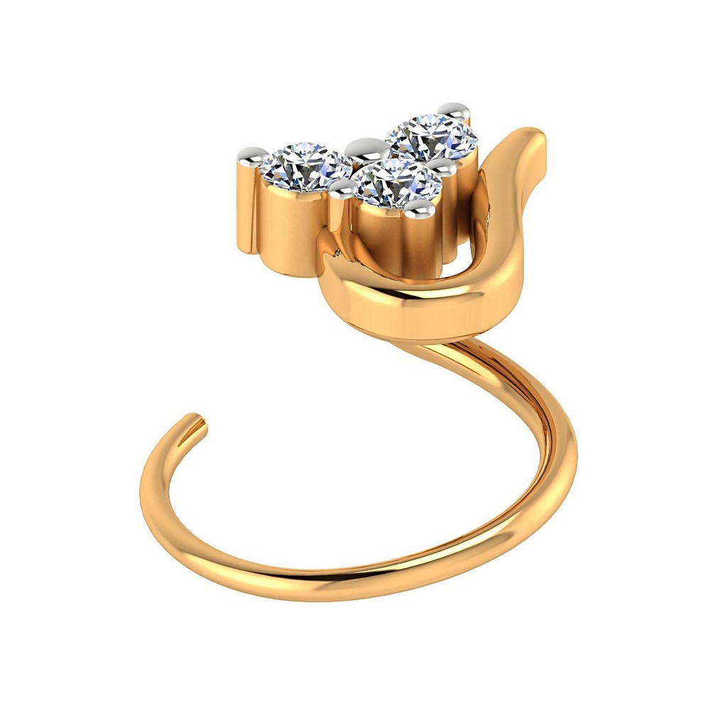 0.04 Cts Certified Real Diamond 14k White Hallmarked Gold Jewelry Nose Ring