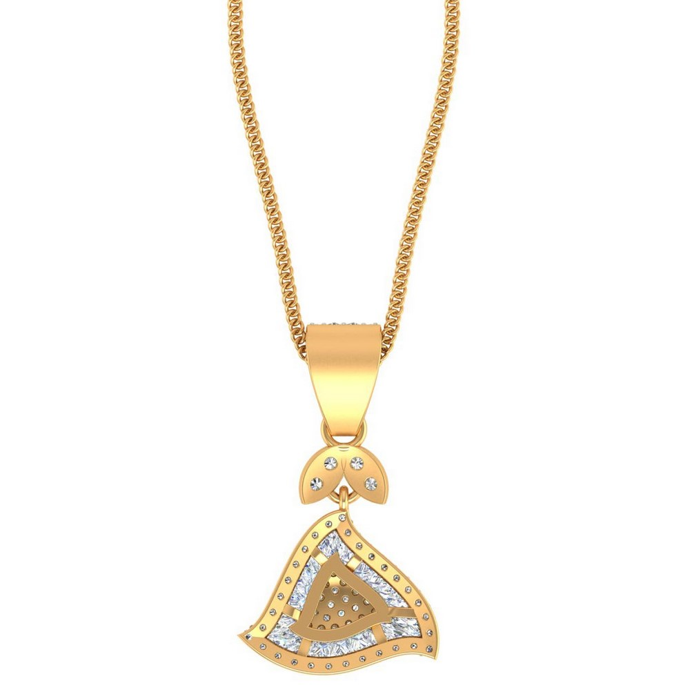 0.62 Cts Certified Diamond 14k Yellow Solid Gold Classic Pendant Birthday Gift