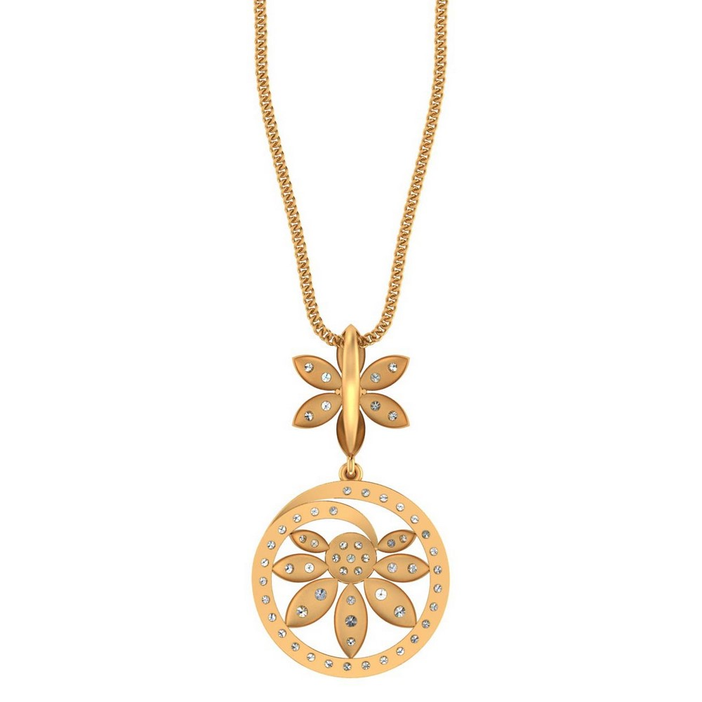 1.31 Cts Certified Natural Diamond 14k Yellow Gold Floral Designer Pendant Party
