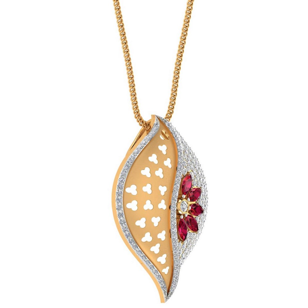 0.81 Cts Certified IJ/SI Diamond 14k Yellow Gold Natural Ruby Pendant Free Gift
