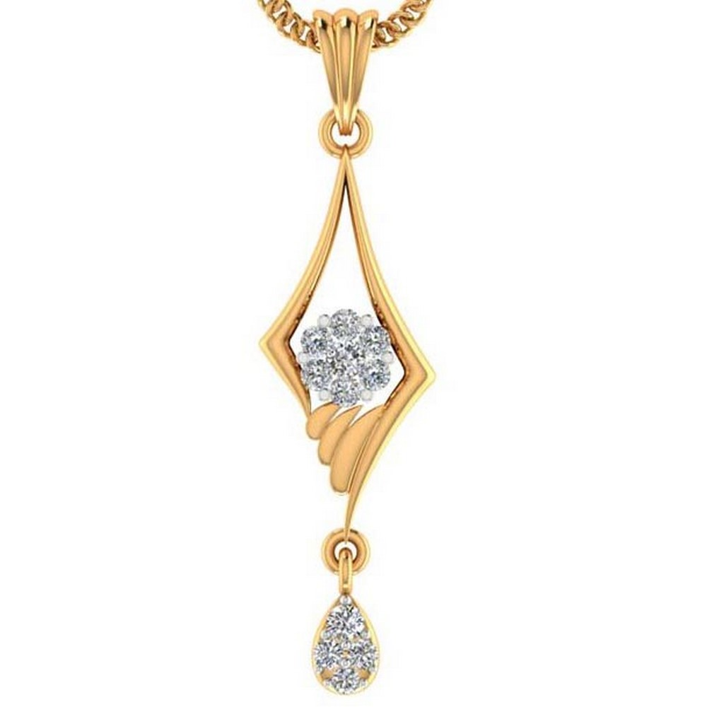 0.13 Cts Certified Real Diamond 14k Yellow Hallmarked Gold Pendant Casual Wear
