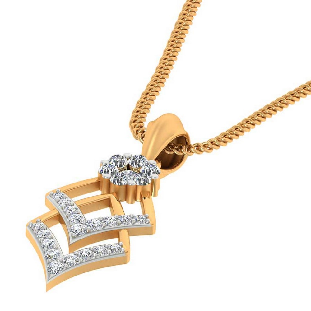 0.24 Cts Certified Real Diamond 14k Yellow Gold Brand New Pendant Birthday Party