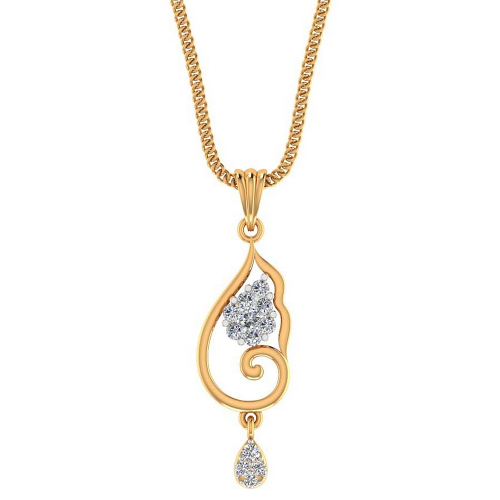 0.18 Ct Certified Natural Diamond 14k Yellow Gold Wavy Feather Pendant Partywear