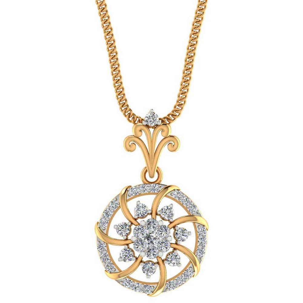 0.41Cts Certified Hallmarked Diamond 14k Yellow Gold Halo Designer Pendant Party
