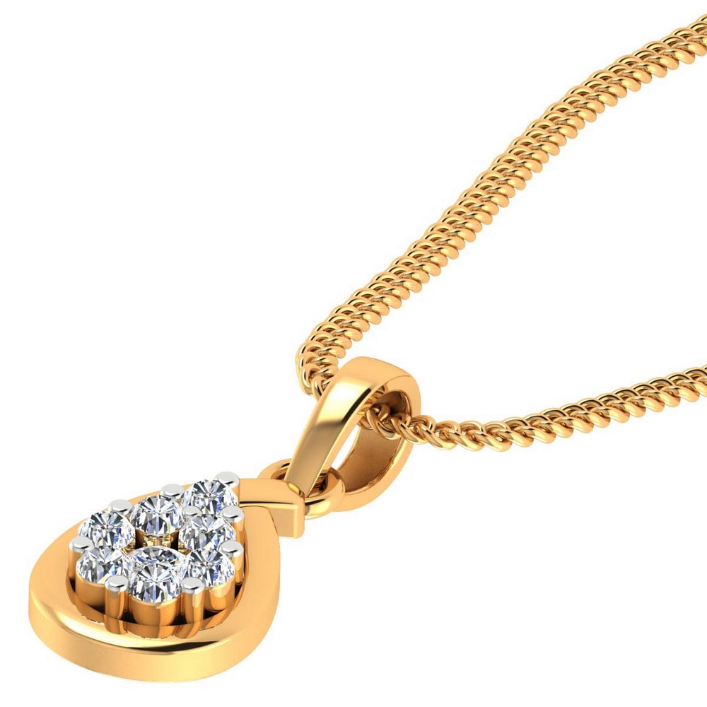 0.14 Cts Certified Diamond 14k Yellow Solid Gold Brand New Pendant Birthdaywear