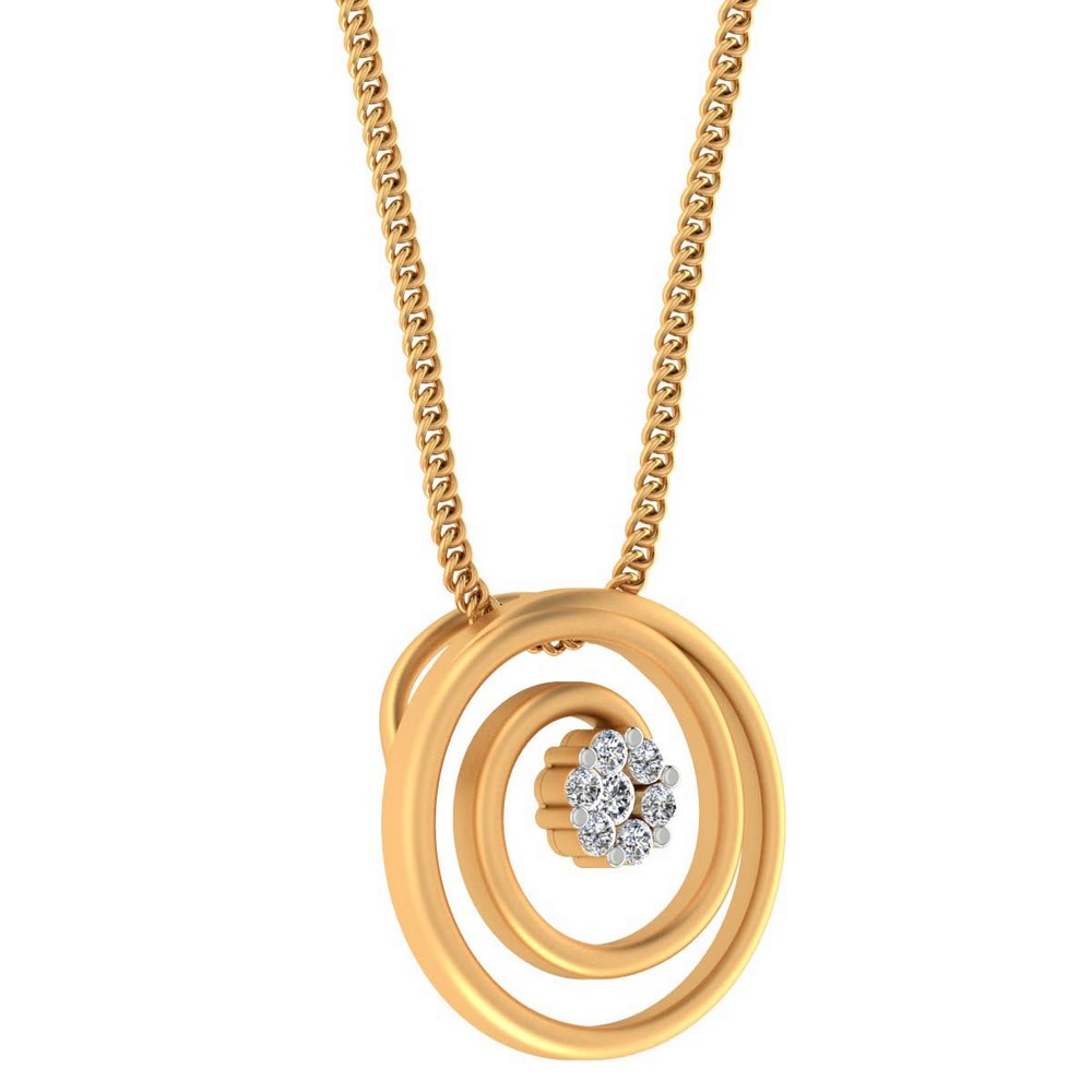 0.08 Cts Certified IJ/SI Diamond 14k Yellow Real Gold Pendant Wedding Partywear