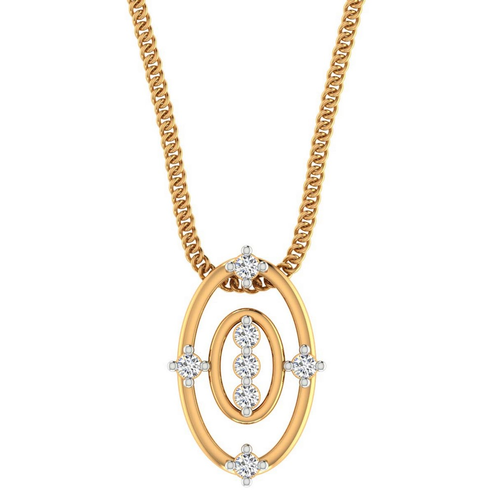 0.11 Cts Certified Natural Diamond 14k Yellow Gold Pendant Wedding Free Giftable