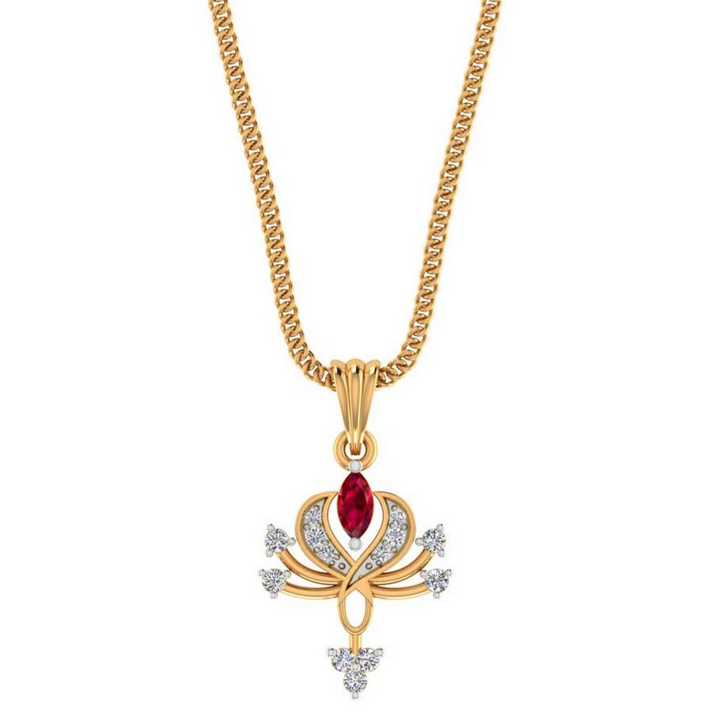 0.10 Cts Certified Real Diamond 14k Yellow Gold Natural Ruby Gemstone Pendant