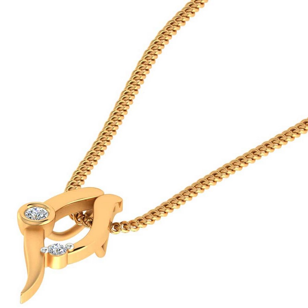 0.04Ct Certified Diamond 14k Yellow Hallmark Gold Jewelry Designer Pendant Party