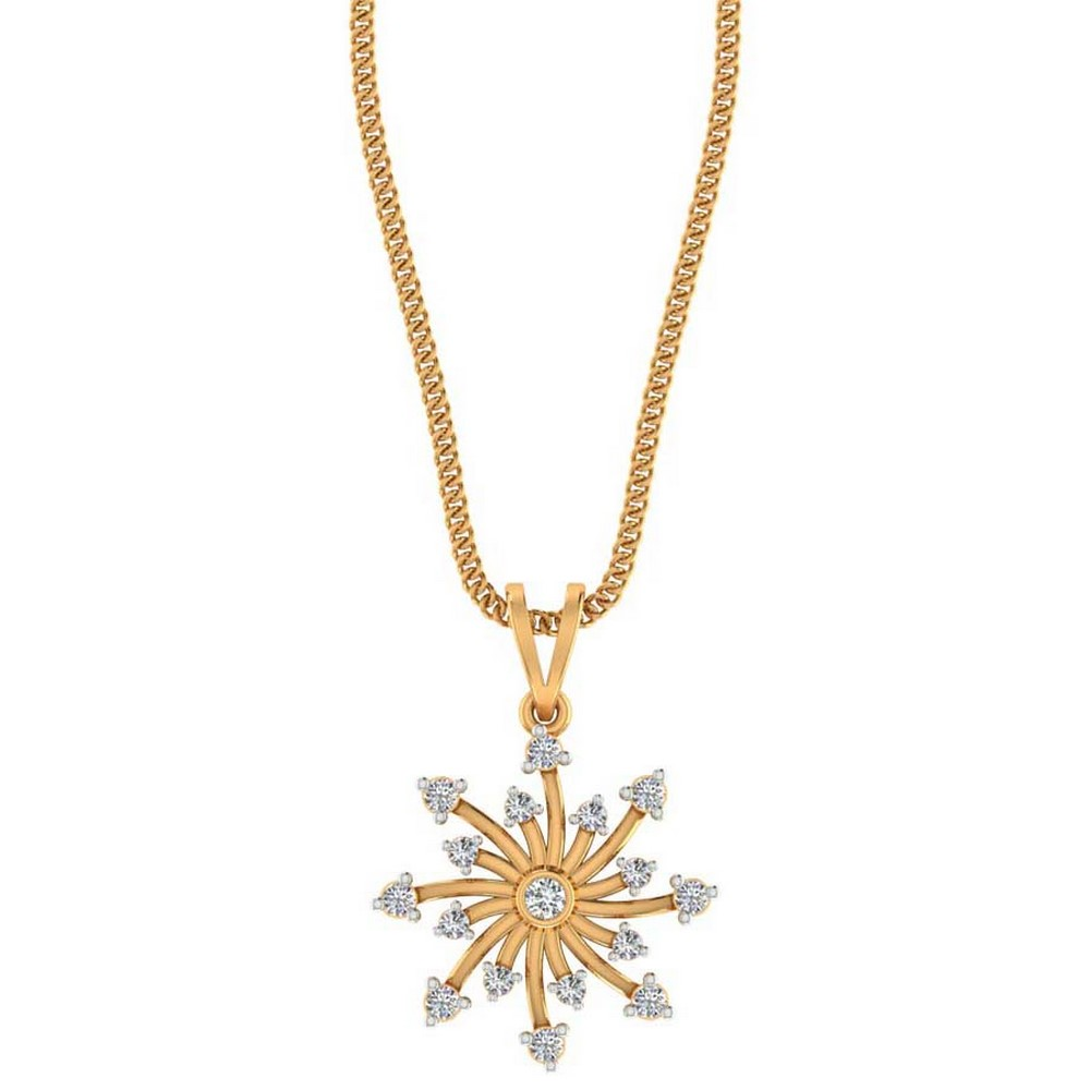 0.23 Cts Certified IJ/SI Diamond 14k Yellow Hallamark Gold Jewelry Pendant Party