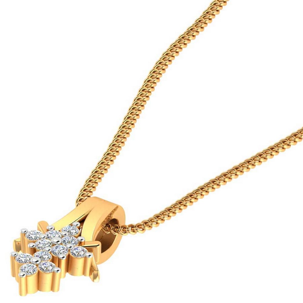 0.17 Cts Certified Diamond 14k Yellow Gold Jewelry Stylish Pendant Wedding Party