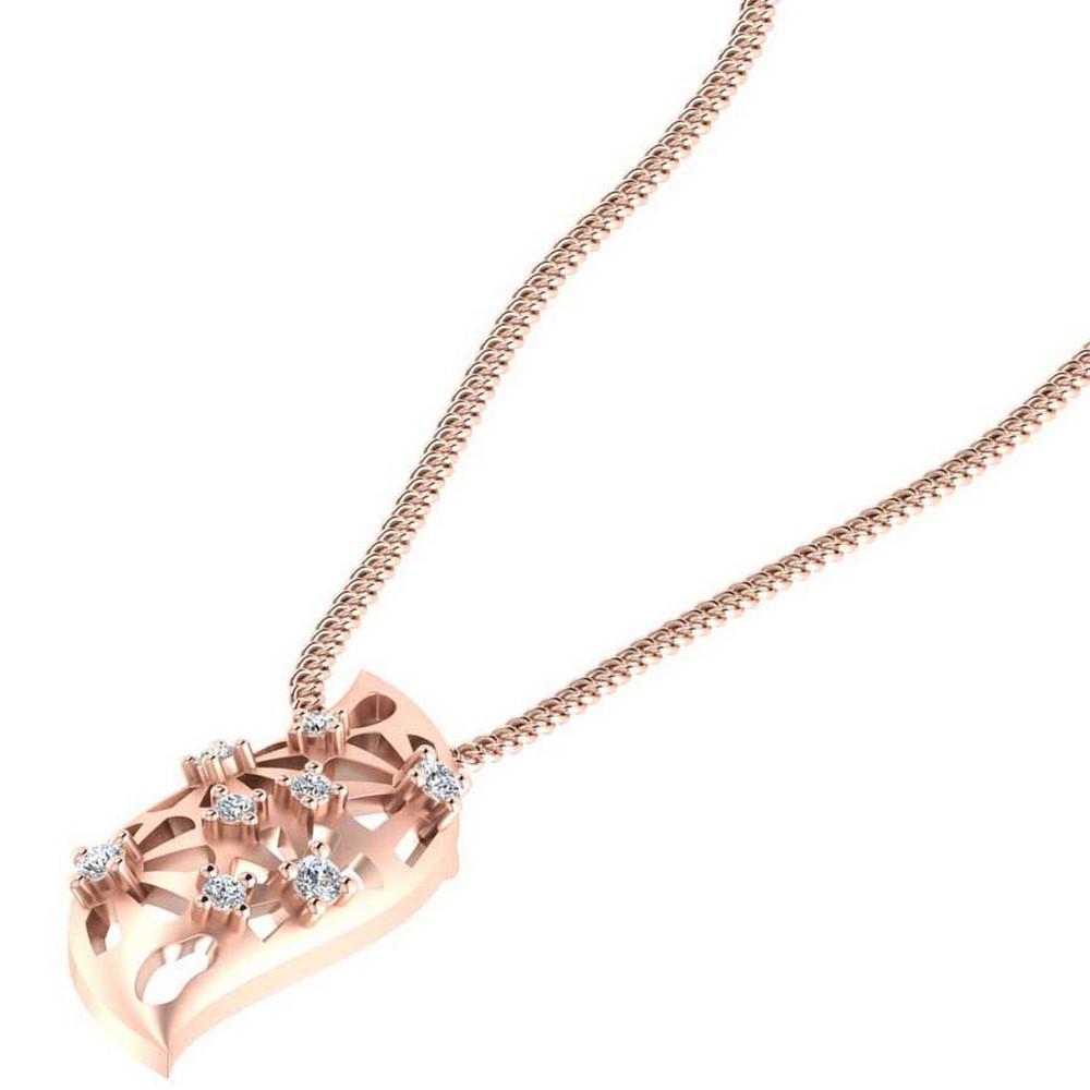 0.10 Cts Certified Diamond 14k Rose Real Gold Jewelry Pendant Free Gift Included