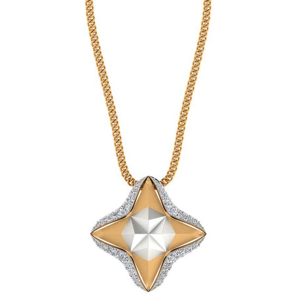 0.18 Cts Certified Diamond 14k Yellow Solid Gold Star Pendant Free Gift Included
