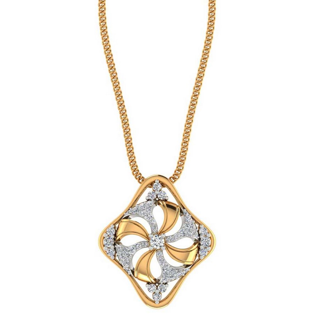 0.37 Cts Certified Diamond 14k Yellow Solid Gold Pendant Christmas Gift