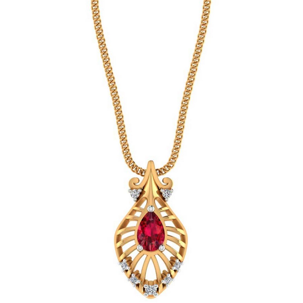 0.08 Cts Certified Diamond 14k Yellow Rose Gold Ruby Stone Jewelry Floral Pendant Partywear